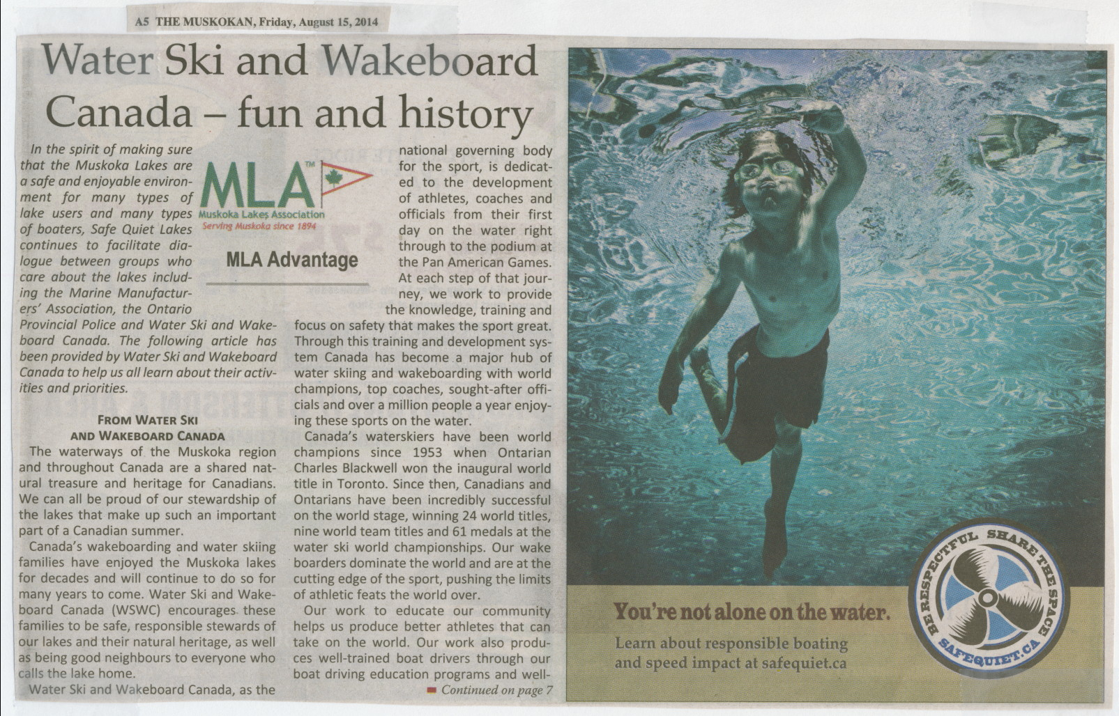 2014 - Aug 5 - Water Ski and Wakeboard Canada - fun and history - The Muskoka page 5 & 7 - 1 of 2