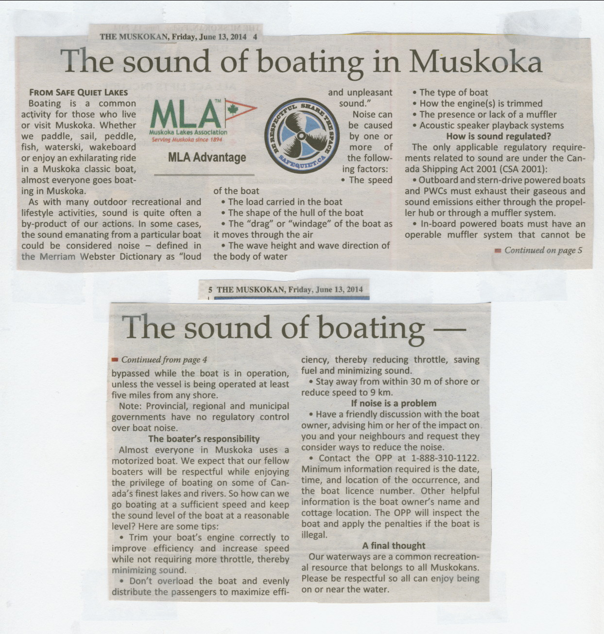 2014 - June 13 - The sound of boating in Muskoka - The Muskokan page 4 & 5