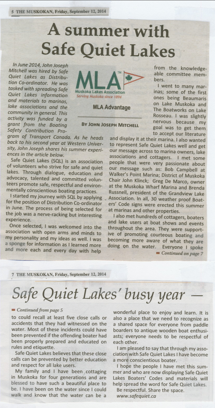 2014 - Sept 12 - A summer with Safe Quiet Lakes - The Muskoka page 5 & 7  by John Joseph Mitchell